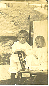 Two Cute Children Real Photo Postcard