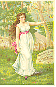 Halls Vegtable Sicilian Hair Renewer Trade Card