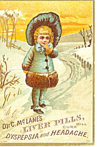 McLanes Liver Pills Patent Medicine Trade  Card p16126 (Image1)