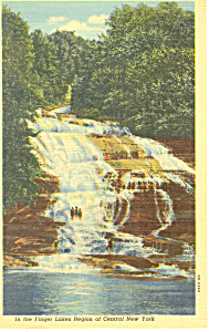 Lower Falls Buttermilk Falls State Park NY Postcard p16143 (Image1)