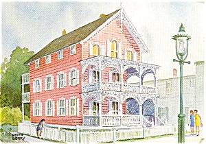 Cape May NJ Pink House Postcard p1621 (Image1)