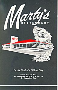 Marty s Restaurant St Augustine FL Postcard p16232 (Image1)