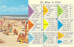 Too Busy To Write, Fl Postcard P16241 1967