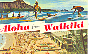 Aloha from Waikiki Hawaii  Postcard p16278 (Image1)