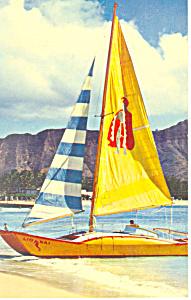 Catamaran at Waikiki Beach Hawaii  Postcard p16285 (Image1)