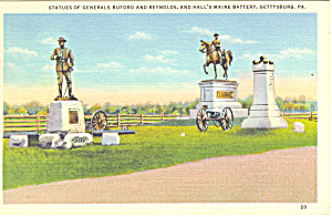 Buford Reynolds Statues Gettysburg, PA  Postcard p16320 (Image1)