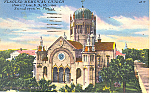 Flagler Church, St Augustine FL Postcard 1957 (Image1)