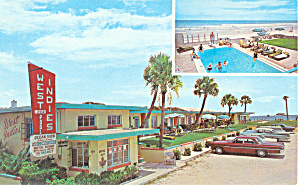 West Indies Motel, Daytona Beach,FL Postcard Cars 50s (Image1)