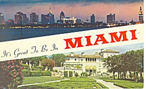 Miami FL Skyline and Viscaya Postcard p16468 (Image1)