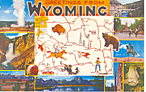 State Map of Wyoming Postcard p16548 (Image1)