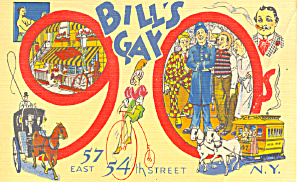 Bill s Gay 90s Restaurant NY Postcard p16651 (Image1)