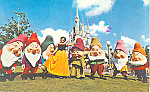 Snow  White Seven Dwarfs Disney World   Postcard p16664 (Image1)