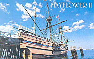 Mayflower II at Plymouth MA   Postcard p16671 (Image1)