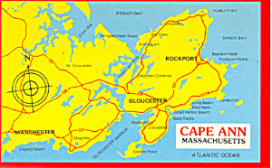 Map of Cape Ann, Massachusetts,  Postcard (Image1)