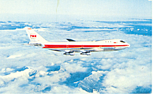 TWA Issued  Postcard Boeing 747 p16736 (Image1)