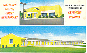 Sheldon's Motel, Keysville, Virginia Postcard (Image1)