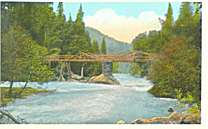 Bridge Over Stream Scenic Postcard