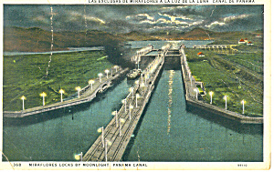 Miraflores Locks by Moonlight Panama Canal Postcard p16853 1931 (Image1)