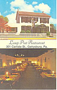 Lamp Post Restaurant Gettysburg PA Postcard p16899 (Image1)