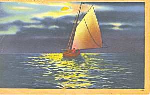Sailing Under the Silvery Moon Postcard p16906 (Image1)
