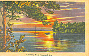 Lake Scene, Alpena Michigan Postcard 1953 (Image1)