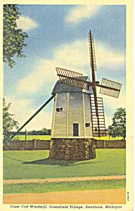 Windmill Greenfield Village Dearborn MI Postcard p16918 1953 (Image1)