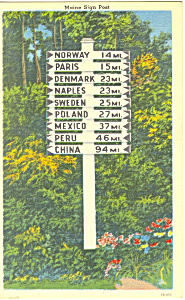 Maine Highway Sign Postcard 1955 (Image1)