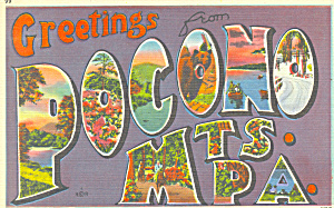 Greetings From Pocono Mts, Big Letter Postcard P16928
