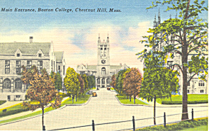 Entrance, Boston College, Chestnut Hill, MA Postcard (Image1)