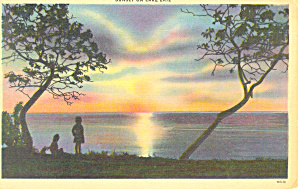 Sunset on Lake Erie NY Postcard p16931 (Image1)
