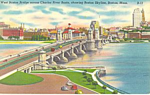 West Boston Bridge and Skyline Boston MA Postcard p16967 (Image1)