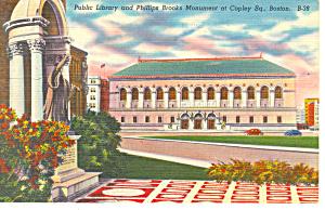 Public Library Copley Square,Boston MA Postcard p16968 (Image1)