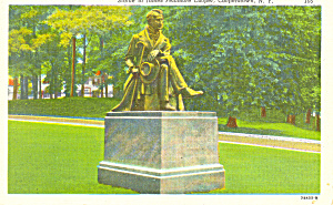 Statue of James Cooper Cooperstown New York Postcard p16990 (Image1)