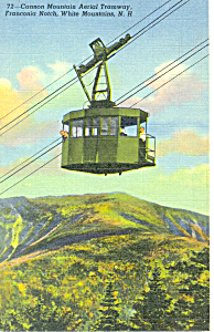 Aerial Tramway, Cannon Mountain, NH  Postcard 1954 (Image1)