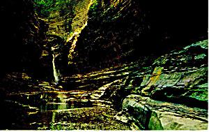 Central Cascade Watkins Glen State Park NY  Postcard p17177 (Image1)