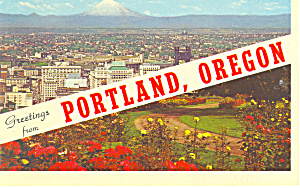 Greetings From Portland OR Postcard p17207 1966 (Image1)