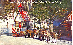 Reindeer Santa s Workshop  NY  Postcard p17236 1959 (Image1)