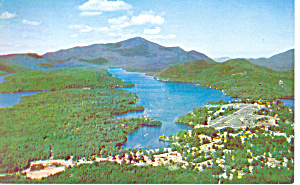 Aerial View Lake Placid NY  Postcard p17248 (Image1)