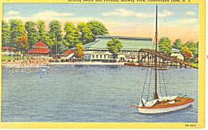 Bathing Beach Chautauqua Lake  NY Postcard p17286 (Image1)