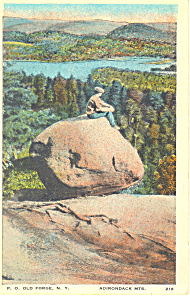 Balanced Rock on Bald Mountain NY Postcard p17293 (Image1)