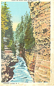 River From Hydes Cave Ausable Chasm NY  Postcard p17326 (Image1)