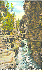 Down The Chasm Ausable Chasm Ny Postcard P17331