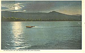 Moonlight on Lake George NY  Postcard p17334 (Image1)