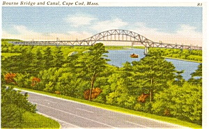 Cape Cod  MA Canal Bourne Bridge Postcard (Image1)