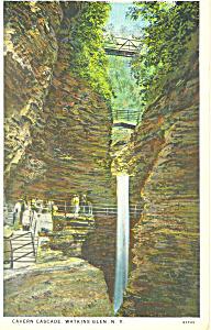 Cavern Cascade Watkins Glen NY  Postcard p17340 1934 (Image1)