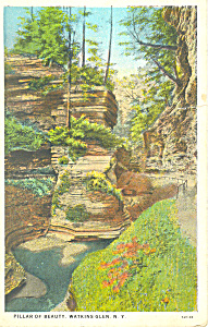 Pillar of Beauty, Watkins Glen, NY  Postcard 1933 (Image1)
