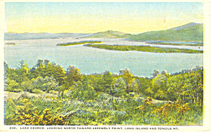 Looking North Lake George NY  Postcard p17345 (Image1)