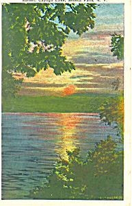 Sunset Cayuga Lake NY  Postcard p17358 1932 (Image1)