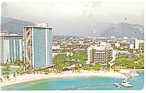 Waikiki Beach  HI  Hilton Hawaiian Village Postcard p17395 (Image1)