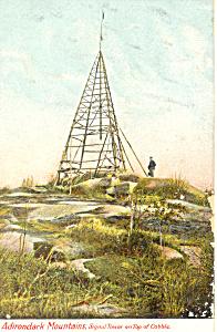 Signal Tower in the Adirondacks NY  Postcard p17477 (Image1)